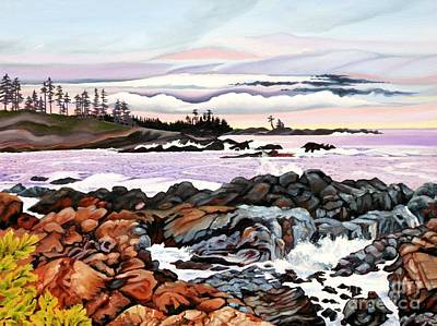 Rocks. Tidal Pool Painting - Black Rock View by Elissa Anthony