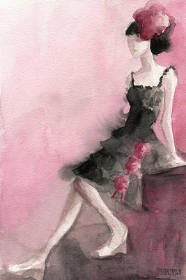 Abstract Fashion Designer Art Painting - Black Ruffled Dress With Roses Fashion Illustration Art Print by Beverly Brown Prints