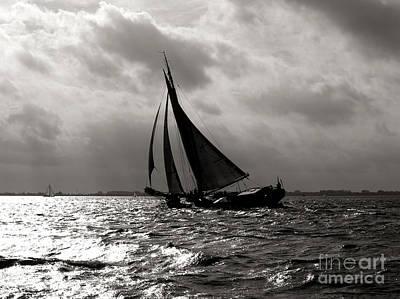 Art Print featuring the photograph Black Sail Sunset by Luc Van de Steeg