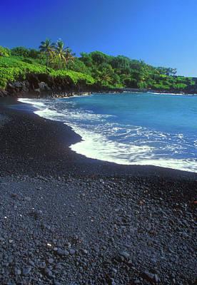 Photograph - Black Sand Beach Hana Maui Hawaii by John Burk