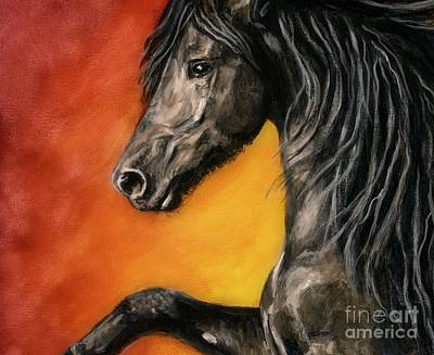 Art Print featuring the painting Black Satin by Sheri Gordon