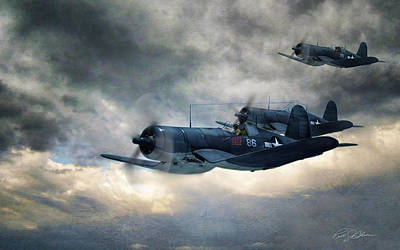 Fighter Plane Digital Art - Black Sheep Patrol by Peter Chilelli