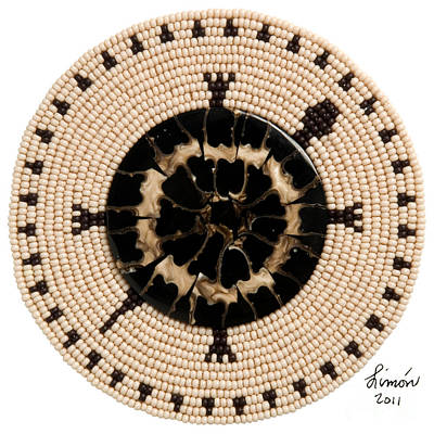 Beadwork Mixed Media - Black Shell by Douglas K Limon
