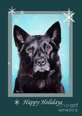 Painting - Black Shepard Mix Portrait Holiday by Amy Reges