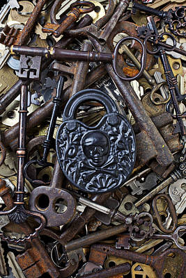 Skull Photograph - Black Skull And Bones Lock by Garry Gay