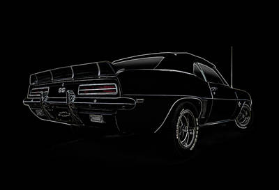 Automotive Digital Art - Black Ss Line Art by Douglas Pittman