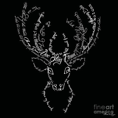 Deer Digital Art - Black Stag by Marion De Lauzun