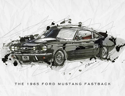 Black Stallion 1965 Ford Mustang Fastback #2 Print by Gary Bodnar