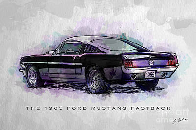 Black Stallion 1965 Ford Mustang Fastback Print by Gary Bodnar
