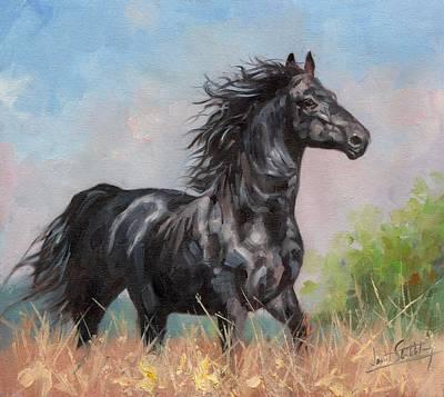 Animals Paintings - Black Stallion by David Stribbling