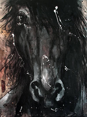 Painting - Black Stallion by Sean Parnell