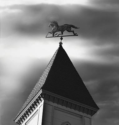 Weathervane Photograph - Black Stallion Weathervane by Larry Butterworth
