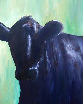 Steer Painting - Black Steer by Lori Stallings