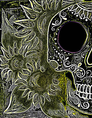 Black Sunflower Skull Art Print