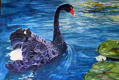 Note Cards Painting - Black Swan by Enola McClincey