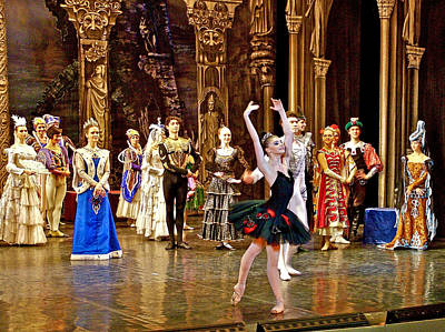 Catherine Palace In Russia Photograph - Black Swan In Swan Lake Ballet In Hermitage Theatre In Saint Petersburg-russia by Ruth Hager