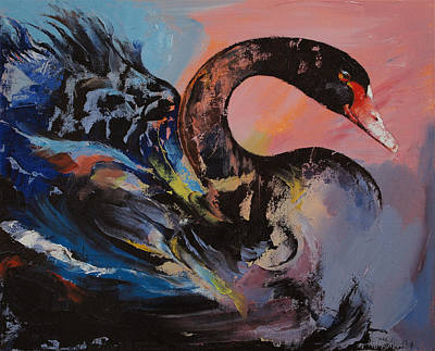 Abstracto Painting - Black Swan by Michael Creese