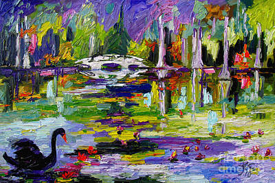 Painting - Black Swan On Pond by Ginette Callaway