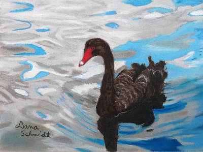 Painting - Black Swan Swimming Lake Eola by Dana Schmidt