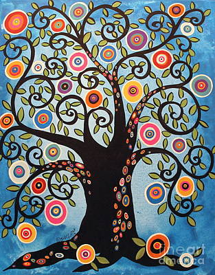 Folk Art Flowers Painting - Black Swirl Tree by Karla Gerard