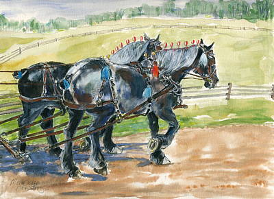 Horse Painting - Black Team by Mary Armstrong