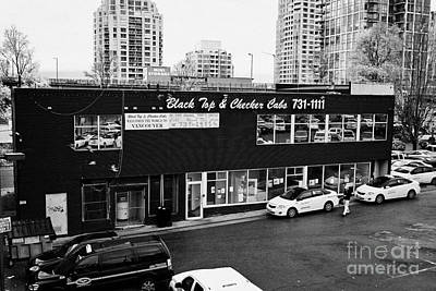 Checker Cab Photograph - black top and checker cabs office Vancouver BC Canada by Joe Fox