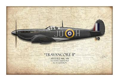 Black Travancore II Spitfire - Map Background Art Print by Craig Tinder