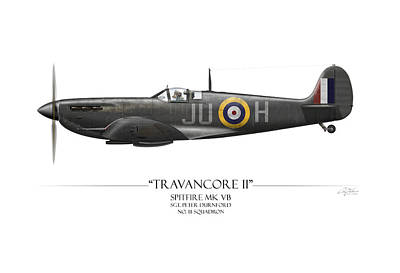 Spitfire Painting - Black Travancore II Spitfire - White Background by Craig Tinder