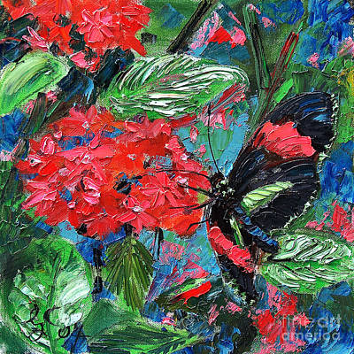 Painting - Black Tropical Butterfly On Red Flowers by Ginette Callaway