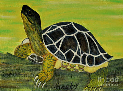 Painting - Black Turtle. Inspirations Collection. by Oksana Semenchenko
