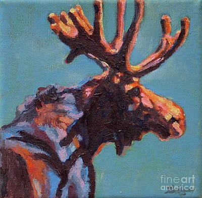 Moose Painting - Black Velvet by Patricia A Griffin