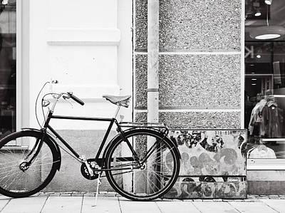 Black Vintage Bicycle Art Print by Jimmy Karlsson