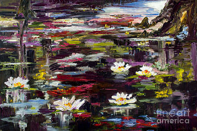 Black Water Lily Pond Art Print