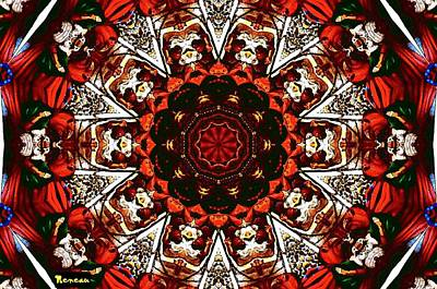 Photograph - Black  White And Red Kaleidoscope by Sadie Reneau