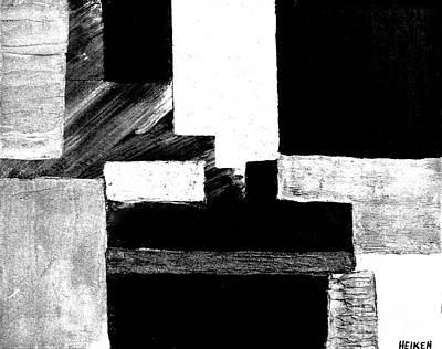 Black White Gray Abstract Art Print by Marsha Heiken