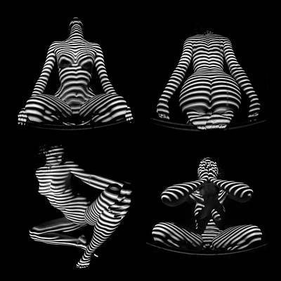 Photograph - Black White Nude Striped By Blinds Four Square by Chris Maher