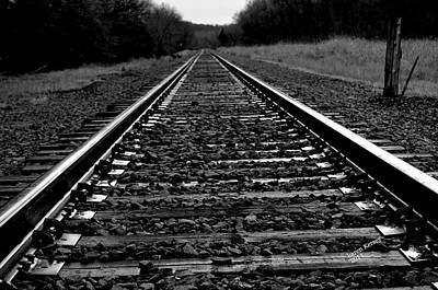 Black White Tracks Art Print