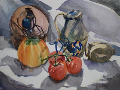 Black Widow And Orange Kneed Tarantula With Tomatoes Squash And Buddha Head. Original by Margaret Montgomery