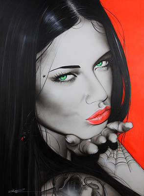 Adriana Lima - ' Black Widow ' Art Print by Christian Chapman Art