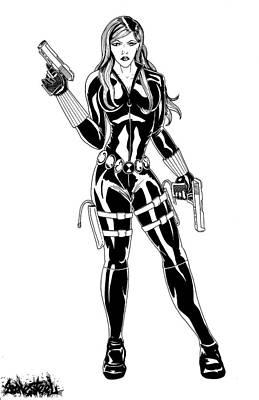Black Widow Drawing - Black Widow by Jeff Bonesteel