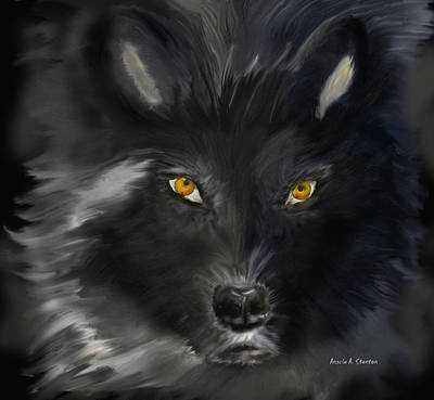 Wolf Face Painting - Black Wolf With Yellow Eyes by Angela A Stanton