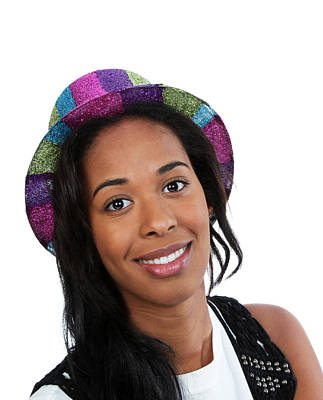 Photograph - Black Woman In A Party Hat by John Orsbun