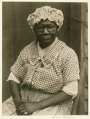 Platinum Drawing - Black Woman In Cap And Gingham Dress Doris Ulmann by Litz Collection