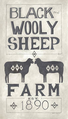 Black Wooly Sheep Art Print by Cindy Shamp