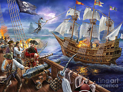 Pirate Ship Digital Art - Blackbeard by Adrian Chesterman