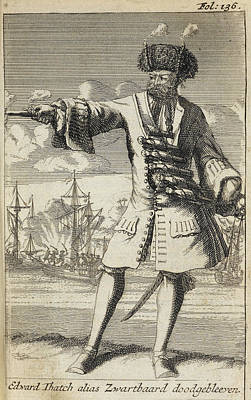 Blackbeard The Pirate Art Print by British Library