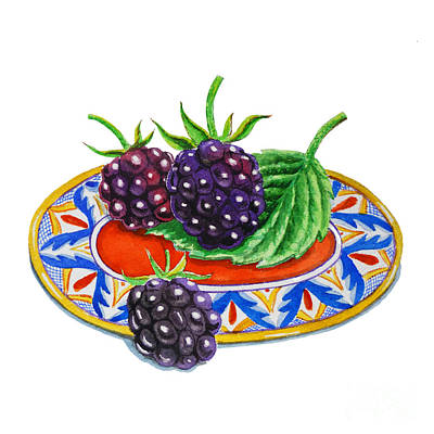 Blackberries On Deruta Plate Art Print by Irina Sztukowski