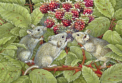 Mice Drawing - Blackberrying by Ditz