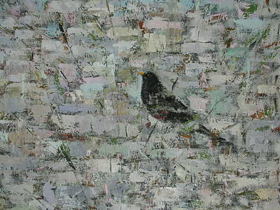 Blackbird In Tree Detail, 2012, Oil On Canvas Art Print by Ruth Addinall