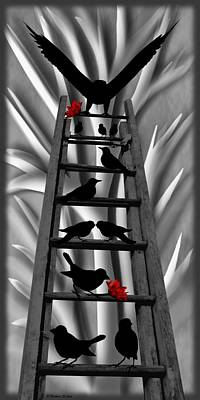 Blackbird Ladder Print by Barbara St Jean